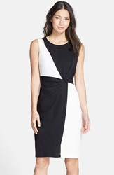 Colorblock Sheath Dress Regular And Petite Black White