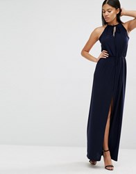 Love Tie Neck Maxi Navy