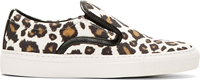 Mother Of Pearl Brown And Ivory Leopard Leather Trim Slip On Sneakers