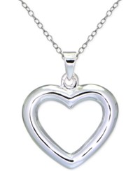 Giani Bernini Polished Open Heart Pendant Necklace In Sterling Silver Only At Macy's