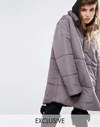 Puffa Oversized Over Head Half Zip Jacket Grey