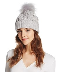 Aqua Metallic Cable Knit Beanie With Asiatic Raccoon Fur Pom Pom Light Gray