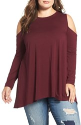 Vince Camuto Plus Size Women's Mixed Media Cold Shoulder Top