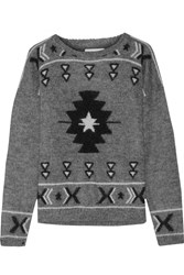 Banjo And Matilda Intarsia Mohair Blend Sweater Gray