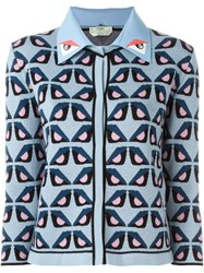 Fendi 'Bag Bugs' Motif Cardigan Blue