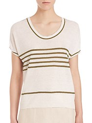 Max Mara Neottia Striped Short Sleeve Top Sand