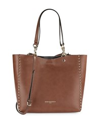 Karl Lagerfeld Studded Faux Leather Tote Saddle
