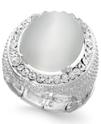 Style And Co. Silver Tone White Oval Stone Ring