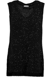 Oscar De La Renta Sequined Silk Blend Tank Black