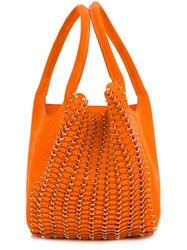 Paco Rabanne Chain Mail Detail Tote Yellow And Orange