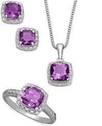 Macy's Sterling Silver Jewelry Set Cushion Cut Amethyst Pendant Earrings And Ring Set 4 1 3 Ct. T.W.