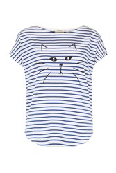 People Tree Stripe Cat Tee In Blue