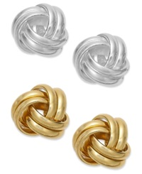 Giani Bernini 24K Gold Over Sterling Silver And Sterling Silver Love Knot Stud Earrings Set