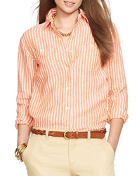 Lauren Ralph Lauren Striped Linen Button Down Shirt Orange White