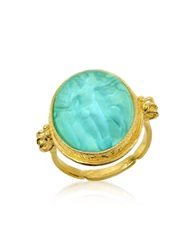 Tagliamonte Three Graces 18K Gold Turquoise Mother Of Pearl Cameo Ring