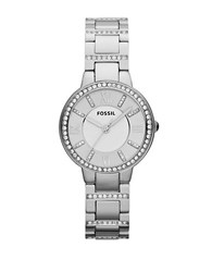 Fossil Ladies Virginia Silvertone And Crystal Watch