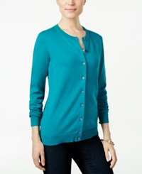 Karen Scott Long Sleeve Cardigan Only At Macy's Teal Shimmer