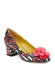Charlotte Olympia Oprah Striped Rose Print Leather Pumps Multi