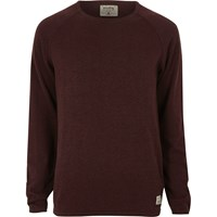 Jack And Jones River Island Mens Burgundy Vintage Seam Jumper Red