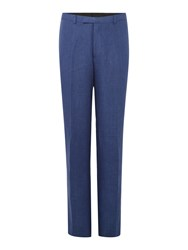 New And Lingwood Burdoch Linen Flat Front Trousers Blue