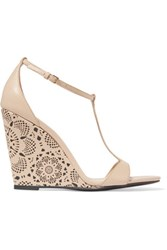 Burberry Laser Cut Leather Wedge Sandals Beige