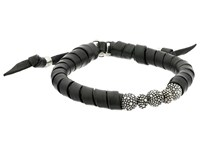 King Baby Studio Thin Natural Wrap Black Leather Bracelet With Stingray Beads Black Bracelet