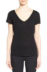 Nordstrom Women's Collection Double V Neck Silk And Cashmere Sweater Black