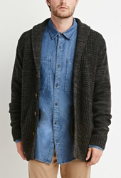 Forever 21 Ribbed Knit Shawl Cardigan Charcoal Cream