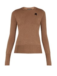 Rochas Eyelet Knit Wool Sweater Beige