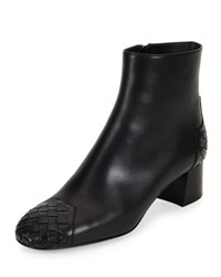 Bottega Veneta Woven Cap Toe Leather Ankle Boot Black Nero Nero Nero