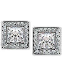T Tahari Silver Tone Crystal Square Button Earrings