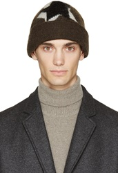 Neil Barrett Green Mohair Pop Art Beanie