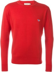 Maison Kitsune Crew Neck Jumper Red