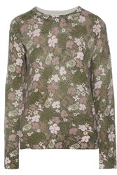 Equipment Sloane Floral Print Cashmere Sweater Green