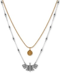 Lucky Brand Two Tone Butterfly And Crystal Disc Layer Pendant Necklace Two Tone
