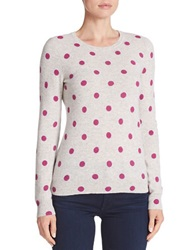 Lord And Taylor Cashmere Polka Dot Sweater Shadow Heather