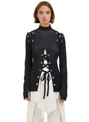 Proenza Schouler Lace Up Roll Neck Ribbed Sweater Black