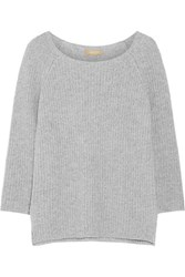 Michael Kors Ribbed Cashmere And Cotton Blend Sweater Gray