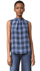 Rebecca Taylor Sleeveless Plaid Mock Neck Top Violet Stone Combo