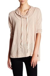 Hip Funnel Neck Lightweight Pullover Pink