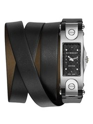 Givenchy Seven Stainless Steel And Leather Wrap Strap Watch