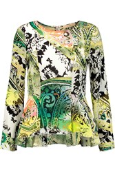 Etro Printed Silk Chiffon Peplum Top Green