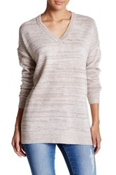 Sweet Romeo Oversized V Neck Pullover Sweater Brown