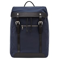 Reiss Yverson Contrast Leather Trim Backpack Navy