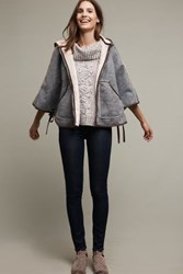Anthropologie Reversible Hooded Sherpa Cape Sky