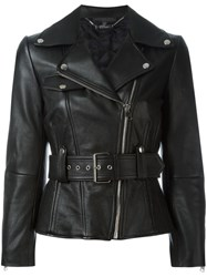 Alexander Mcqueen Flared Biker Jacket Black