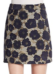 Sam Edelman Floral Jacquard Mini Skirt Black Multi