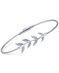 Charriol Women's Laetitia White Topaz Accent Leaves Stainless Steel Bendable Cable Bangle Bracelet Silver