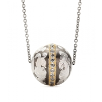 Roberto Marroni Niello Engraved Silver Ball Pendant Necklace With Grey Diamonds And 18Kt Gold