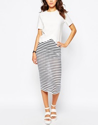 Motel Bobby Midi Skirt In Stripe Knit Blackwhite